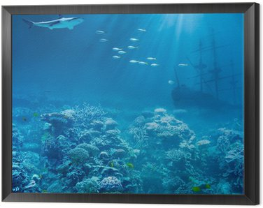 Obraz w Ramie Morza lub oceanu, pod wodą z rekinem i skarby statek zatonął