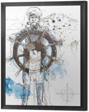 Morze kapitan - ręcznie rysowane ilustracji przekształcony wektor