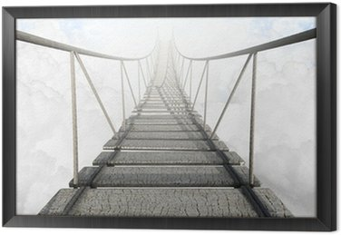 Obraz w Ramie Most linowy nad chmurami