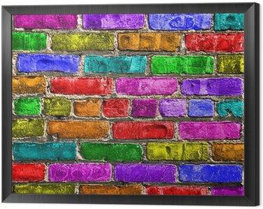 Obraz w Ramie Mur wielokolorowe Briques