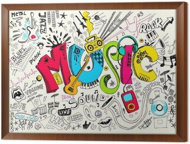 Obraz w Ramie Muzyka doodle