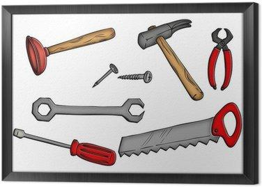 Obraz w Ramie Narzędzia, młotek, piła, Pömpel, klucze,