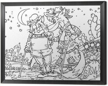 Obraz w Ramie Nędznych kot i fox (bajkowy Pinokio)
