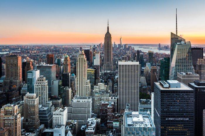 Obraz w Ramie New York skyline o zachodzie słońca -