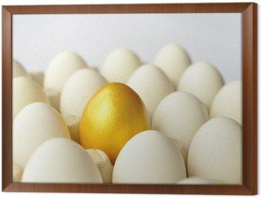Obraz w Ramie Niespodzianka - złote jajo wśród białych jaj