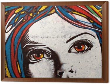 Obraz w Ramie Nowoczesny styl graffiti na ceglany mur.