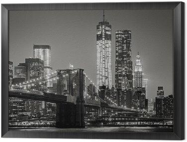 Obraz w Ramie Nowy Jork nocą. Brooklyn Bridge, Lower Manhattan - czarny
