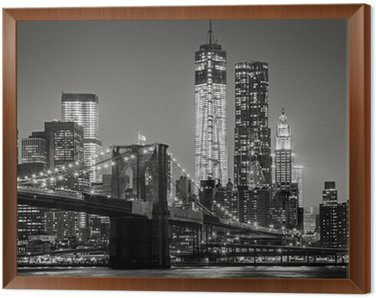Obraz w Ramie Nowy Jork nocą. Brooklyn Bridge, Lower Manhattan - czarny