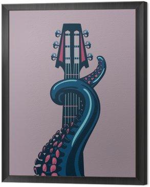 Obraz w Ramie Octopus wąs trzyma gitarę riff.