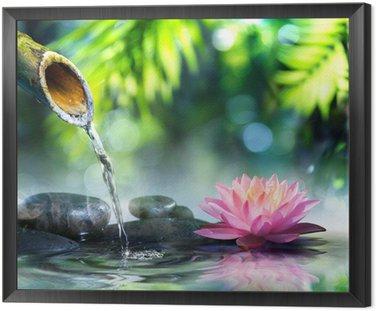 Obraz w Ramie Ogród zen z czarnych kamieni i różowym lilii wodnej
