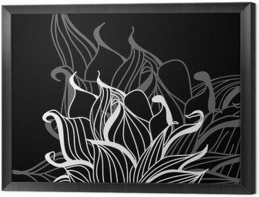 Obraz w Ramie Oryginalne kwiaty na czarnym