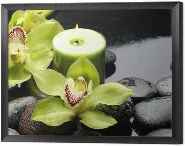 Obraz w Ramie Palenie świec i zen kamienie z żółtym orchidea