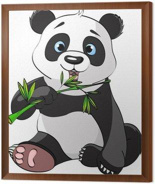 Obraz w Ramie Panda jedzenia bambusa