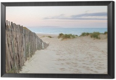Obraz w Ramie Panorama krajobraz systemu wydmy na plaży o wschodzie słońca
