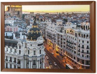 Obraz w Ramie Panoramiczny widok na Gran Via, Madryt, Hiszpania.