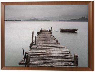 Obraz w Ramie Patrząc na molo i łodzi, niskie nasycenie