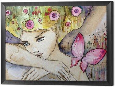 Obraz w Ramie Piękna dziewczyna z motylem