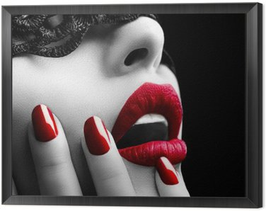 Obraz w Ramie Piękna kobieta z czarnym koronki nad oczy maski