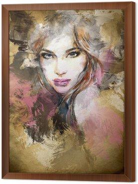 Obraz w Ramie Piękna twarz kobiety. Akwarele ilustracji