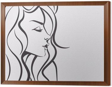 Obraz w Ramie Piękna twarz kobiety szkic - marzy dziewczyna z długimi włosami