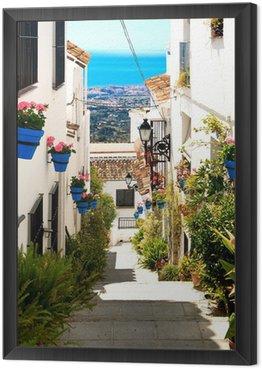 Obraz w Ramie Piękna ulica z kwiatami w mieście Mijas, Hiszpania