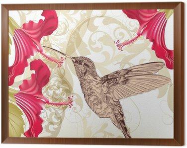Obraz w Ramie Piękne wektora tła z kolibra i kwiaty