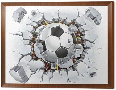 Obraz w Ramie Piłka uszkodzenia ścian i starych tynków. ilustracji wektorowych