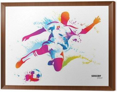 Obraz w Ramie Piłkarz kopie piłkę. kolorowych ilustracji wektorowych