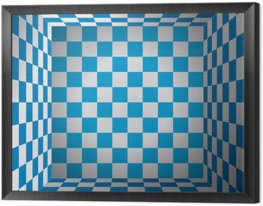 Obraz w Ramie Plaid pokój, niebieski i biały komórka, 3D Chess box, Oktoberfest wektor wzór tła