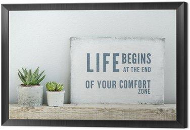 Obraz w Ramie Plakat motywacyjny cytat życie zaczyna NA KONIEC Comfort Zone