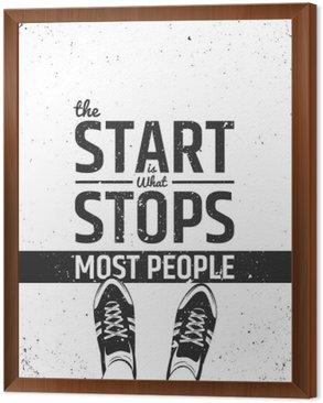Obraz w Ramie Początek jest to, co zatrzymuje większość ludzi motywacyjny inspirujących cytatów na szorstkiej tle.