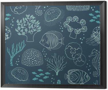 Obraz w Ramie Podwodne życie wzór