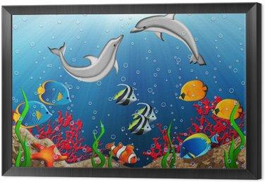 Obraz w Ramie Podwodny świat z delfinami i ryb tropikalnych