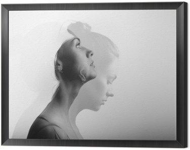 Obraz w Ramie Podwójna ekspozycja z młodą i piękną dziewczyną, monochromatycznych
