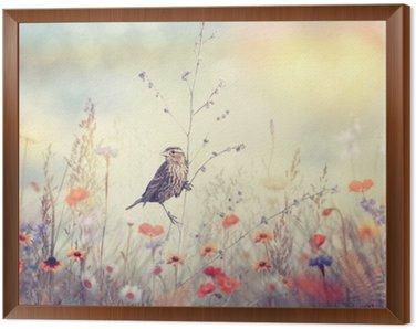 Obraz w Ramie Pole z dzikich kwiatów i ptaków
