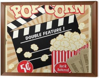 Obraz w Ramie Popcorn z Radą grzechotka i bilety do kina plakat rocznika