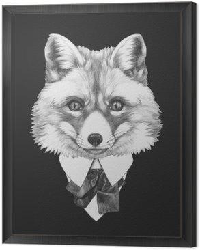 Obraz w Ramie Portret Fox w kolorze. Ręcznie rysowane ilustracji.