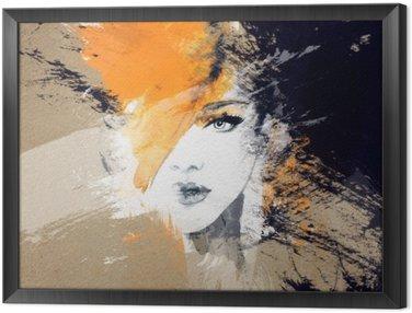 Obraz w Ramie Portret kobiety .abstract tle akwarela .fashion