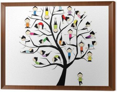 Obraz w Ramie Praktyka jogi, koncepcji drzewa dla projektu