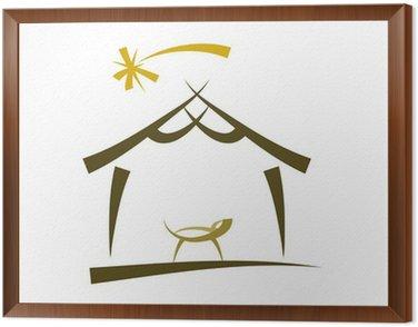 Obraz w Ramie Prosty rysunek symbolu szopki na Boże Narodzenie
