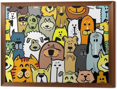 Obraz w Ramie Psy i koty