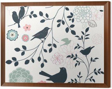 Obraz w Ramie Ptak i kwiat