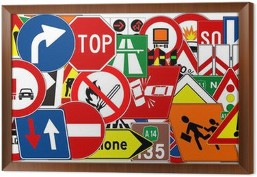 Obraz w Ramie Ramowa z znaków drogowych