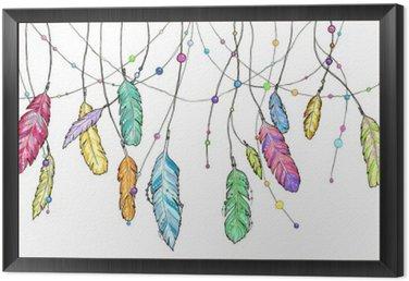 Obraz w Ramie Ręcznie narysowanego szkic pióra Dream Catcher.