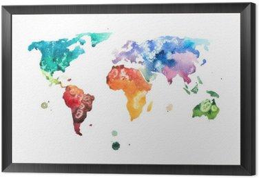 Obraz w Ramie Ręcznie rysowane akwarela akwarela ilustracja mapa świata.