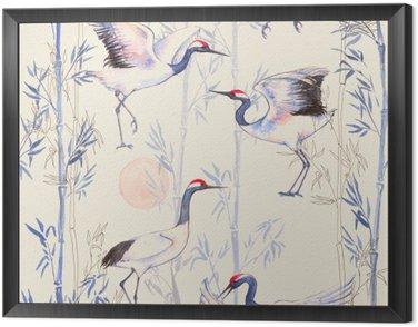 Obraz w Ramie Ręcznie rysowane Akwarele szwu z białych japońskich żurawi tańca. Powtarzające się tło z delikatnymi ptaków i bambusa