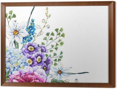 Obraz w Ramie Ręcznie rysowane kwiaty akwarela