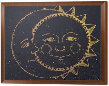 Obraz w Ramie Ręcznie rysowane słońce z księżycem