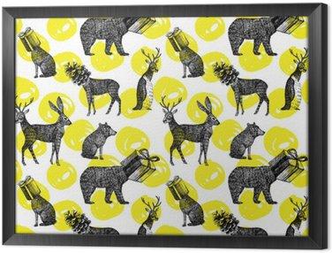 Obraz w Ramie Ręcznie rysowane zwierzęta zima bez szwu tła