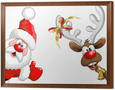 Obraz w Ramie Renifery i Święty Mikołaj-ok Funny Santa Claus i reniferów